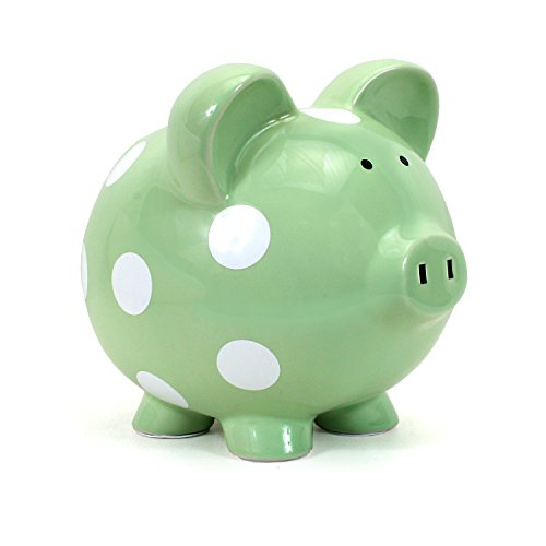 - Child to Cherish Ceramic Polka Dot Piggy Bank, Green