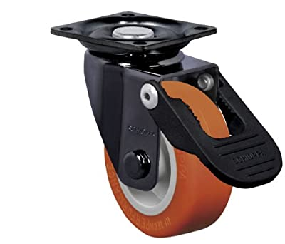 "Schioppa, GLAP 210 UP FPI–BR, 2"" (50 mm) Swivel Brake Caster, Non-Marking Polyurethane Wheel, 70 lbs, Plate: 1-21/32 x 1-21/32"" (BH 1-1/4 x 1-1/4"")"