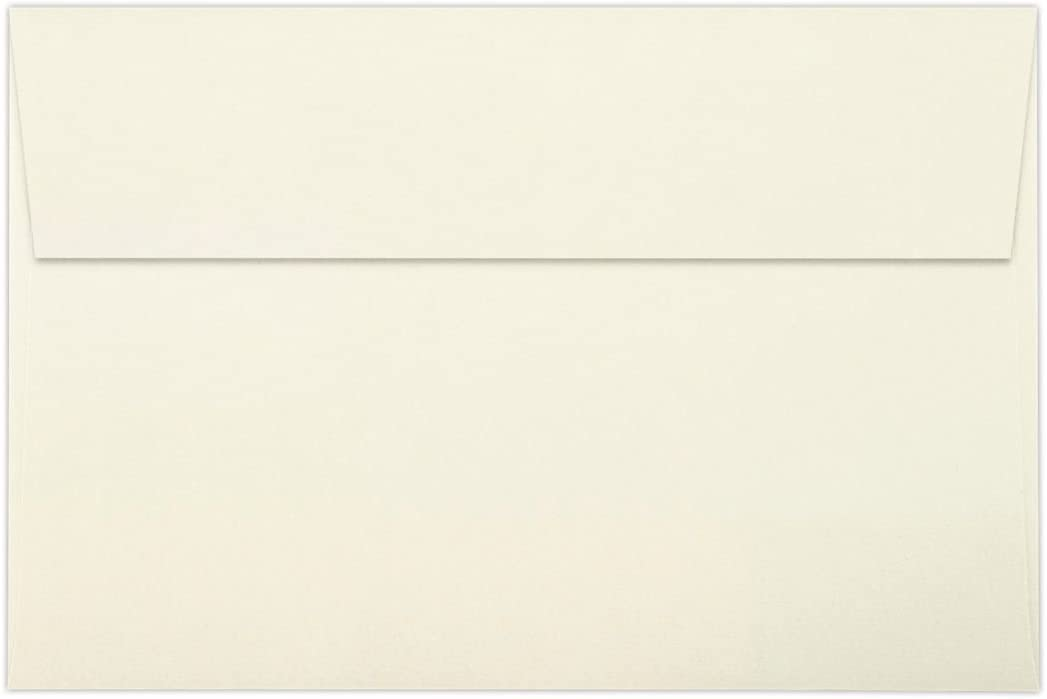 LUXPaper A9 Invitation Envelopes in 80 lb. Natural - 100% Recycled for 5 1/2 x 8 1/2 Cards, Printable Envelopes for Invitations, with Peel and Press, 50 Pack, Envelope Size 5 3/4 x 8 3/4 (Off White)