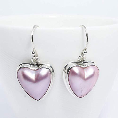 (Heart pink mabe pearl earring, Bali handmade 925 sterling silver dangle earring with enchanting 13 * 14 mm pink mabe, perfect pink mabe, heart earring, pink mabe pearl earring)