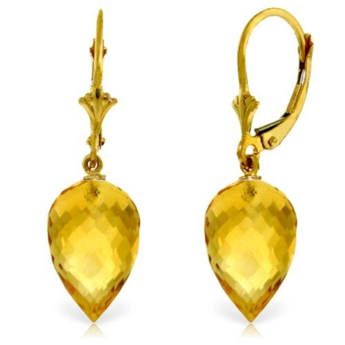 (14k Yellow Gold Leverback Dangle Earrings with Pointy Briolette Natural Citrine Drops)