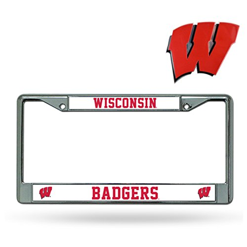Official National Collegiate Athletic Association Fan Shop Licensed NCAA Shop Authentic Chrome License Plate Frame and Colored Auto Emblem (Wisconsin Badgers) (License Plate Frame Badgers)