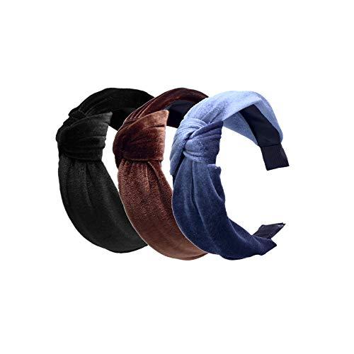 Pack of 3 Women and Girls Handmade Lovely Style Velvet cloth Cross Knot Hair Hoop Hairband Headband Headwear Hair Accessories by Beauty Hair (B(3pcs))