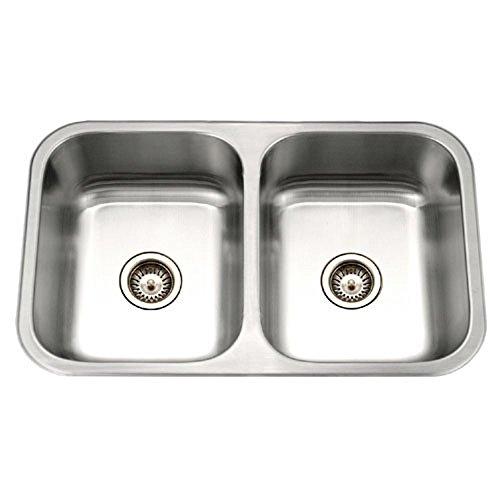 Gourmet Deep Double Bowl - Houzer MGD-3120-1 Medallion Gourmet Series Undermount Stainless Steel 50/50 Double Bowl Kitchen Sink