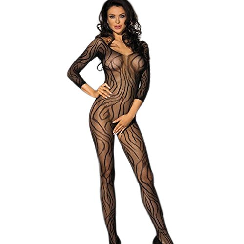 FAVOLOOK Sexy Crotchless Lingerie Bodystocking Black Stretch Exotic Lingerie Catsuit with Long Sleeve