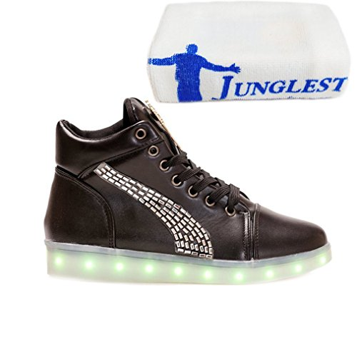 [Present:small towel]JUNGLEST® 7 Colors Led Trainers High Top Light Up Black MLo1b