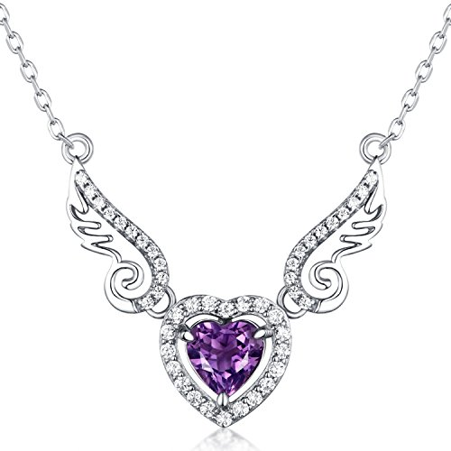 (HXZZ Fine Jewelry Gifts for Women 925 Sterling Silver Natural Gemstone Love Heart Amethyst Pendant Angel Wings)