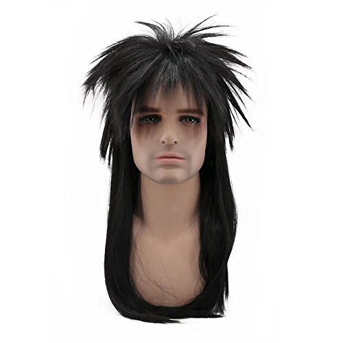 Long Parted Wig - COSPLAZA 80s Heavy Metal Rocker Cosplay Wig Adult Long Straight Black Spiked Mullet Hair For Men