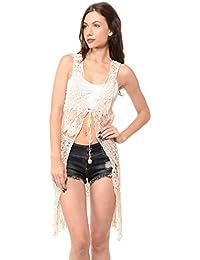 Sexy Knit Fringe Bohemian Vintage Crochet Chic Vest Cardigan Top (L-3600)