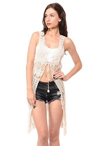 Sexy Knit Fringe Bohemian Vintage Crochet Chic Vest Cardigan Top One Ivory