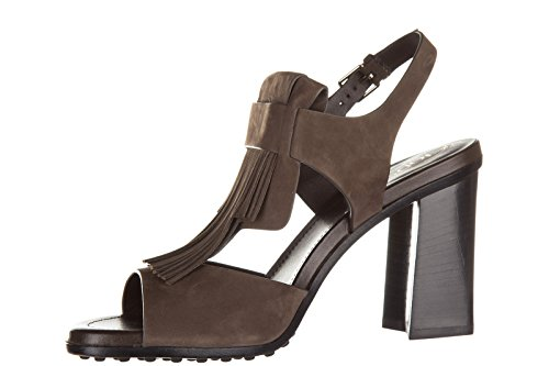 Tod's sandales femme à talon en cuir t90 wb maxi frangia marron