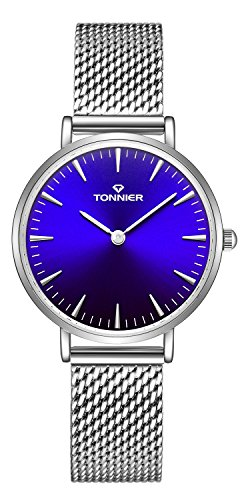 Tonnier Slim Stainless Steel Mesh Strap Quartz Mesh Watch for Women (Silver & PurplishBlue) from Tonnier