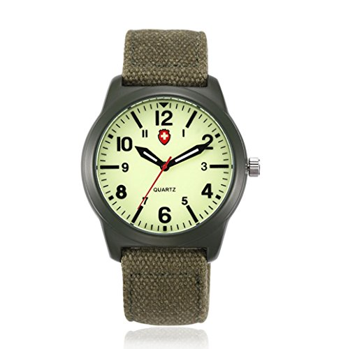 Vavna Lucky Fashion Unisex Canvas Strap Swiss Army Quartz Crime Army Watch Military Sport Wrist Watches - Luminous Green