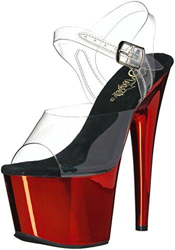 Pleaser Women's Adore-708 Sandal, Clr/Red Chrome, 7 M US