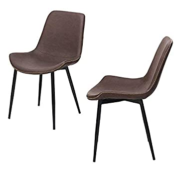 reputable site 46c88 604c0 FashionFurniture Vintage Faux Leather Dining Chair Grey and Brown (Set of  2), Faux Leather, Brown, 60 X 57 X 80 (cm)