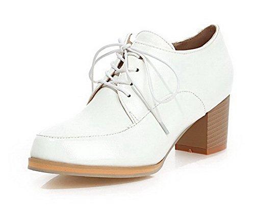 VogueZone009 Women's Lace-up Microfiber Kitten-Heels Soild Pumps-Shoes White xz7eN0H7