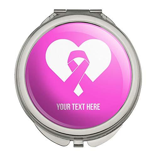 - Personalized Custom 1 Line Breast Cancer Pink Ribbon Heart Compact Travel Purse Handbag Makeup Mirror