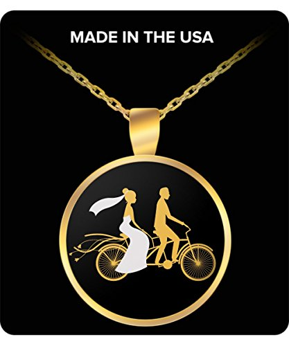 Best Wedding Gift For Husband and Wife Matching Necklaces Tandem Bicycle Wedding Day Anniversary Gift Necklace Husband to Wife or Wife to Husband Best Day of My Life Necklace