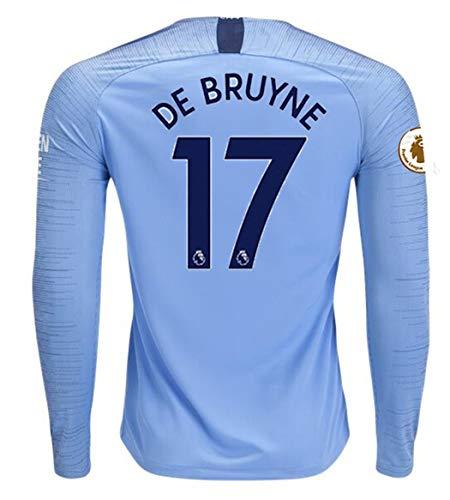 Aizer Do Manchester City 2018/2019 Season #17 DE Bruyne Mens Home Long Sleeve Soccer Jersey & Armbands Blue Size M - Long Sleeve Home Shirt