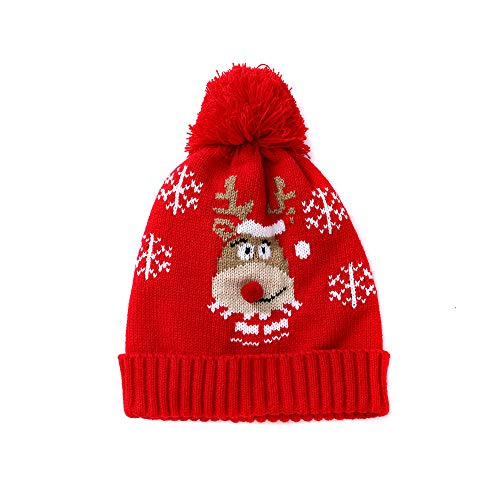 Kids Winter Warm Knit Beanie Hat,Crytech Pom Pom Deer Snow Flake Crochet Knittedd Slouchy Baggy Snow Skull Ski Cap for 1-6 Years Baby Toddler Boy Girl Children Christmas Accessory Gift (Elk)