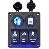 WUPP Boat Rocker Switch Panel 3 Gang ON Off Toggle Switches with 3.1A Double USB Power Charger 12V Cigarette Lighter Socket for Marine Car Truck Jeep