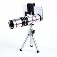 DEFONG Telescope Lens 18x Zoom Optical Telephoto Lens Kit With Aluminum mini Tripod Phone Camera Lenses for iphone Samsung LG and More (18x-Silver)