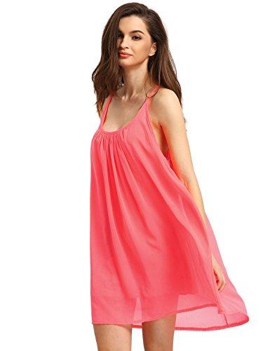 ROMWE Women's Spaghetti Strap Sundress Hollow Out Summer Chiffon Beach Short Dress Watermelon Red (Spaghetti Strap Sheer Lined Dress)