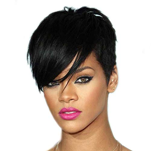LvSenLin Fashion Women's Wig, Heat Resistent Synthetic Black Short Natural Looking Rihanna Wigs Ideal for Costume Party Cosplay Daily Use -