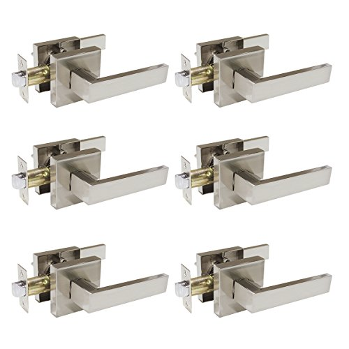 Plate Lever Handle - Probrico Square Passage Door Lever Set Keyless Interior Door Handles Lock Brushed Nickel Finish, 6 Pack