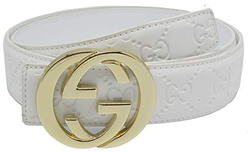 Fashion-Sir88:Fashion leather G belt buckleStyle unisex Business Casual Belt (White Gold, 125CM#US 36-40) by Fashion-Sir88