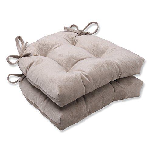 Pillow Perfect Belvedere Driftwood Knit Velvet Reversible Chair Pad, Set of (Velvet Chair Pad)
