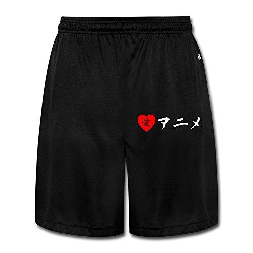 [M07H Men's Unique I Love Anime In Japanese Scanties Black Size XL] (Japanese Beard)