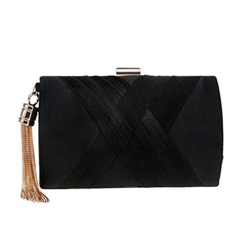 Clutch YM1215black Metal Small Handbags Lady Purse Bag Evening With Day Clutch Bags Chain Style Classical Tassel Shoulder 6xawUrq6v