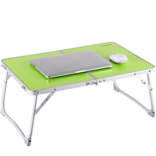 Foldable Laptop Table | Superjare Bed Desk | Breakfast Serving Bed Tray | Portable Mini Picnic Table & Ultra Lightweight | Folds in Half w' Inner Storage Space - Green (Table Breakfast Folding)