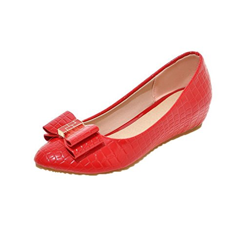Odomolor Women's Pull-On PU Round-Toe Low-Heels Solid Pumps-Shoes, Red, 33