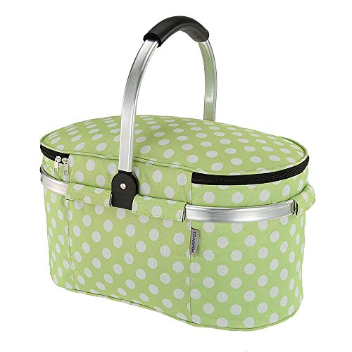 TOMSHOO 30L Foldable Picnic Basket Insulated Storage Shopping Basket Folding Aluminum Handle 46 25 24cm Outdoor (Green)