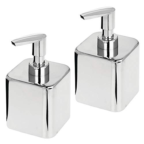 mDesign Compact Square Metal Refillable Liquid Soap Dispenser Pump Bottle for Bathroom Vanity Countertop, Kitchen Sink - Holds Hand Soap, Dish Soap, Hand Sanitizer, Essential Oil - 2 Pack - Chrome