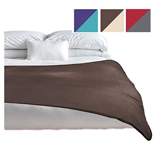 TOP Waterproof Blanket, Deluxe Bed and Furniture Protector for People and Pets, Reversible, Leak Proof Moisture Barrier, Soft Fleece (Brown Beige Reversible, Jumbo 80×60)