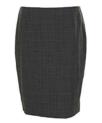 Hobbs Women's Montagu Flat Front Plaid Pencil Skirt Grey Mel Mint