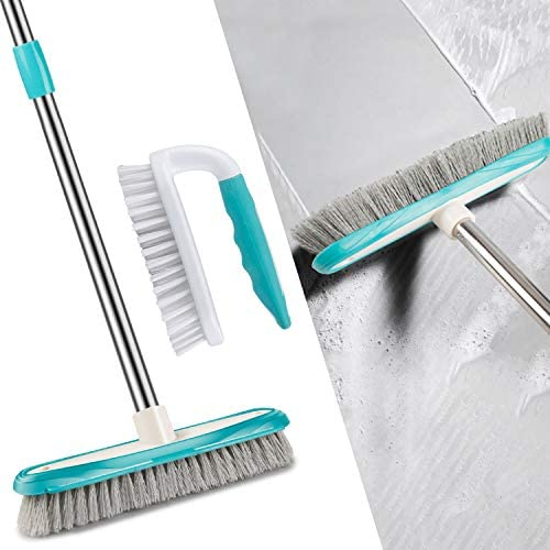 MEXERRIS Scrub Brush with Floor Scrubber Brush Long Handle Combo Cleaning Kits, Stiff Bristles Durable Scrubbing Grout Cleaner Brushes for Bathroom, Shower, Sink, Bathtub, Tile, and Kitchen Surface