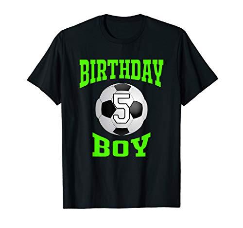 5th Birthday Boy Shirt - Soccer T- Shirt 5 years old kid