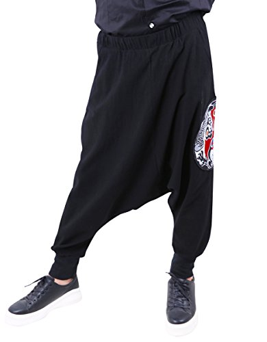 Mens Embroidered Pants - ELLAZHU Men Loose Chinese Opera Embroidered Drop Crotch Pants Harem Pants GYM127, One Size