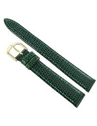 14mm T&C Lizard Grain Genuine Leather Green Padded Watch Band Strap Regular