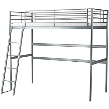 Amazon Com Ikea Twin Size Loft Bed Frame Silver Color