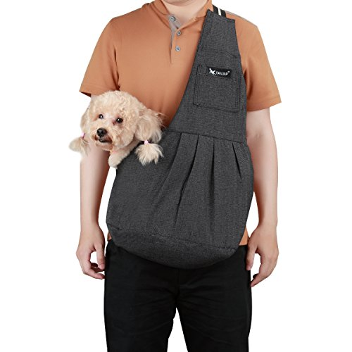 - TAIL UP Pet Carrier Sling, Shoulder Bag with Adjustable Slide Strap for Small & Medium Dogs, Cats or Rabbits, Hands-Free Outdoor Pet Carrier, Puppy Carrier Tragvel Bag (L, Black)