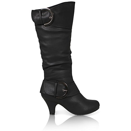 CORE COLLECTION Womens Ladies Mid Heel Winter Twin Buckle Zip Calf Knee Riding Shoes Boots Size BLACK LEATHER PU