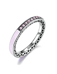 PAHALA 925 Sterling Silver LightPink Enamel Hearts With Crystals Cubic Zirconia Pave Wedding Engagement Band Ring