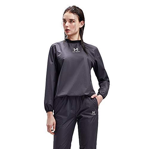HOTSUIT Sauna Suit Women Weight Loss Sweat Jacket Gym Boxing Workout, Black, L