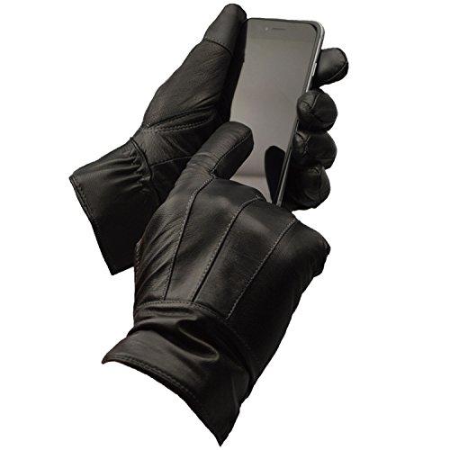 Mens Designer Genuine Leather Thermal Winter Driving Gloves (Medium, Black...