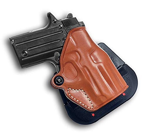 Premium Leather Paddel Holster OWB with Open Top for, Sig P.938 W/Out Laser R/H Draw, Brown Color #1098# ()